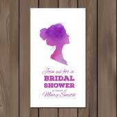 Bridal shower invitation with watercolor elements and profile silhouette of a woman — Stock Vector