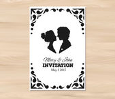 Vector wedding invitation with profile silhouettes of man and wo — Stock Vector