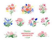 Vector watercolor floral bouquets — Stock Vector