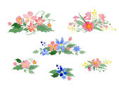 Vector watercolor floral bouquets — Stock Vector