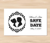 Vector save the date wedding invitation with profile silhouettes — Stock Vector