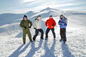 Group of snowboarders — Stock Photo