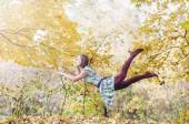 Levitation portrait of young woman — Stock Photo
