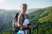 Portrait of happy hiking female — Stock Photo