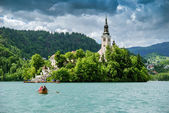 Panoramic view of  Lake Bled — Stock Photo