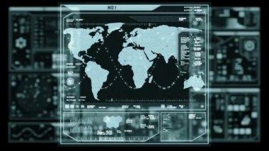 Futuristic command center interface (loop ready) — Stock Video