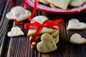 Shortbread cookies in a heart-shaped Valentine's Day — Stock Photo