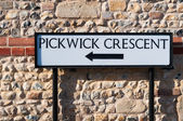 Pickwick Crescent, street sign, UK — Stock Photo