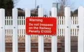 Warning sign on railway level crossing, Cattishall, Bury St Edmu — Stock Photo