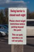 Sign post for 'Swing Barrier' in a car park — Stock Photo