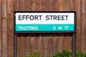 Tooting London road sign for Effort Street — Stock Photo