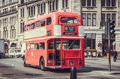 Route Master Bus in the street of London. — Stock Photo