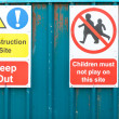 Construction site warning sign for public to not let children p — Stock Photo #70647145