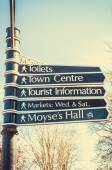 Sign posts to places in Bury St Edmunds — Stock Photo