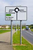 Direction for Bury St Edmunds and Thurston and Great Barton — Stock Photo