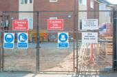 Site safety signs construction site  — Stock Photo