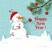 Happy New Year snowman illustration. — Stockvektor