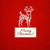 Christmas knitting  background with christmas deer — Stock Vector