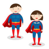 Illustration superman and superwoman — Stock Vector