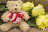 Gift card for birthday - teddy bear and roses — Stock Photo