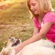 Girl hugging golden retriever dog — Stock Photo #55690331