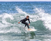Surfer in action on wave — Stock Photo