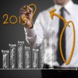 Business hand writing question about 2015 on graph — Stock Photo #59125009