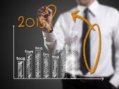 Business hand writing question about 2015 on graph  — Stock Photo