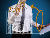 Business hand writing question about 2015 on graph  — Stockfoto