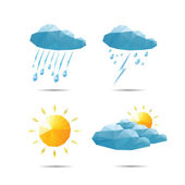 Weather icons set in polygonal geometric style. Vector illustrat — Wektor stockowy