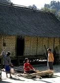 Laos woman weave mat with sedge — Stock Photo
