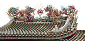 Dragon symbolic tradition of china on roof of joss house.Isolate — Stock Photo