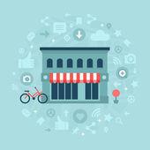 Social Media in Local Business — Stock Vector
