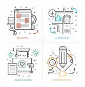 Blogging e creazione di contenuti — Vettoriale Stock