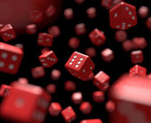 Reds dices falling — Stock Photo