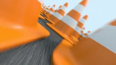 Endless traffic cones flight — Stock Video
