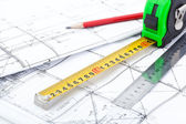Architectural drawings and measurement tools. — Stock Photo