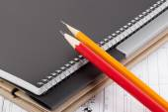 Caderno, pasta e lápis. — Stockfoto