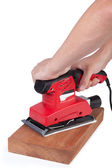 Working with finishing sander. — Stock Photo