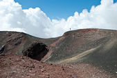 Man on the Mount Etna - Volcano — Stock Photo