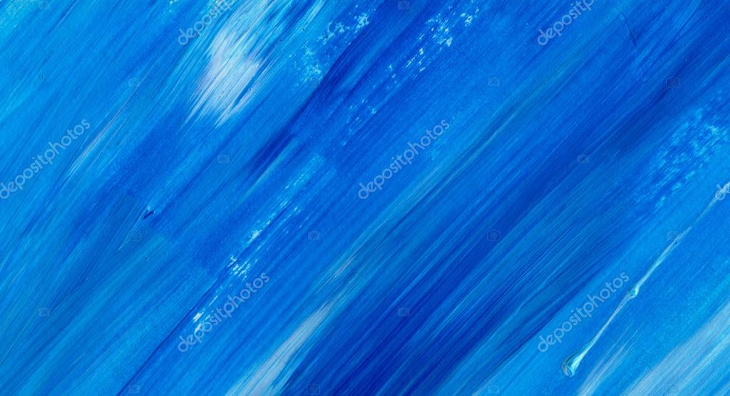 Blue Abstract acrylic texture background. Hand paint brush ...