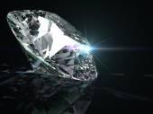 Lesklých diamant na černém pozadí. — Stock fotografie