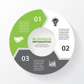インフォ グラフィックのサークル矢印をベクトルします。図、グラフ、プレゼンテーション、グラフのテンプレートです。3 オプション パーツ、手順やプロセスをビジネス コンセプトです。抽象的な背景. — ストックベクタ