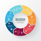 Vector circle arrows for infographic. Template for diagram, graph, presentation and chart. Business concept with 7 options, parts, steps or processes. Abstract background. — Stok Vektör