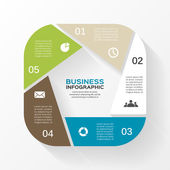 Vector circle infographic. Template for diagram, graph, presentation and chart. Business concept with 5 options, parts, steps or processes. Abstract background. — Vecteur