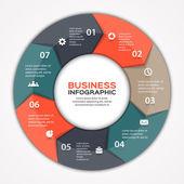 Vector círculo flechas infografía. plantilla de diagrama, gráfico, presentación y gráfico. concepto de negocio con 7 opciones, partes, pasos o procesos. abstact. — Vector de stock