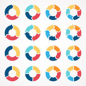 Vector circle arrows set for infographic. Template for diagram, graph, presentation and chart. Business concept with 3, 4, 5, 6 options, parts, steps or processes. Abstract background. — ストックベクタ
