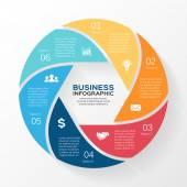Vector círculo infografía. plantilla de diagrama, gráfico, presentación y gráfico. concepto de negocio con 6 opciones, partes, pasos o procesos. abstact. — Vector de stock