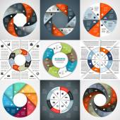 Vector circle arrows infographics set. Template for diagram, graph, presentation and chart. Business concept with 8 options, parts, steps or processes. Abstract background. — ストックベクタ