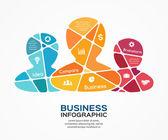 Social vector business teamwork infographic. — Stock Vector